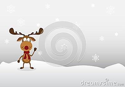 Cartoon reindeer Cute on winter background. Vector Illustration