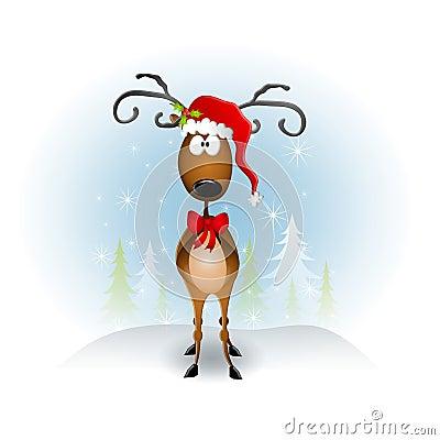 Cartoon Reindeer Santa Hat