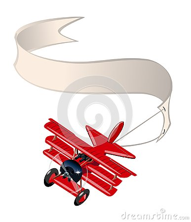 Free Cartoon Retro Airplane With Banner Isolated On White Background Stock Photos - 145305233