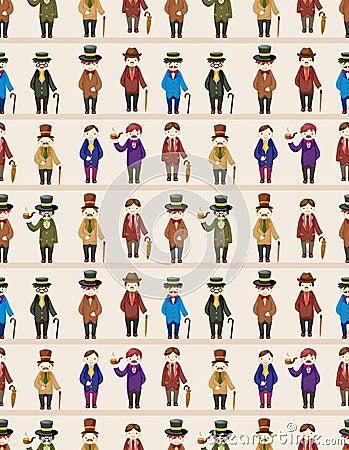 Cartoon retro gentleman seamless pattern