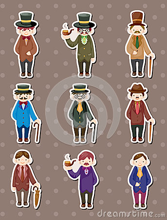 Cartoon retro gentleman stickers