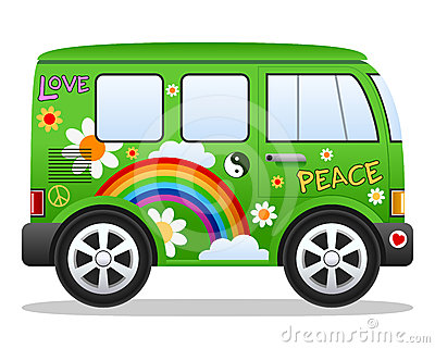 Cartoon Retro Hippie Van