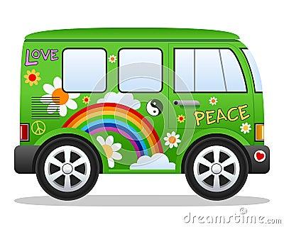 Cartoon Retro Hippie Van Vector Illustration