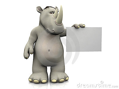 Cartoon rhino with blank sign.