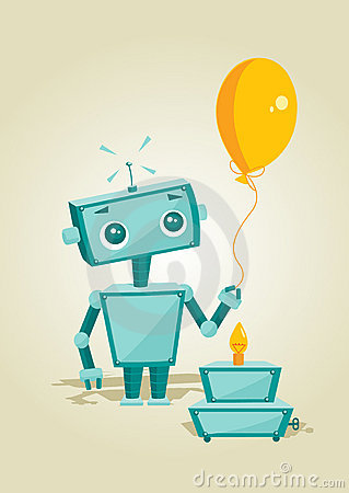 Cartoon robot with birthday cake