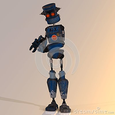 Cartoon robot with expressive emotion in his face