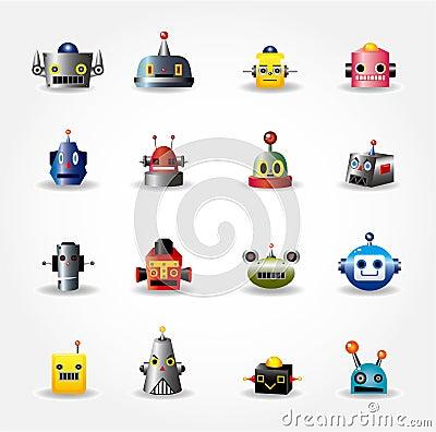 Cartoon robot face icon , web icon set -