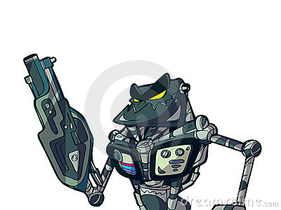 Cartoon robot and heavy weapon