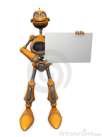 Cartoon robot holding blank sign.