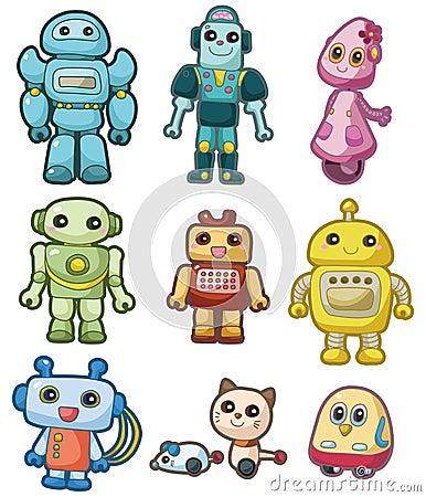 Cartoon robot icon set