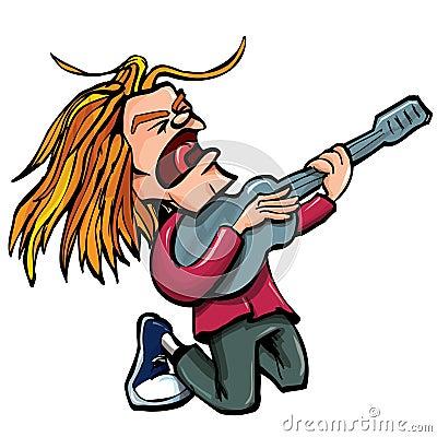 Cartoon rock singer with guitar