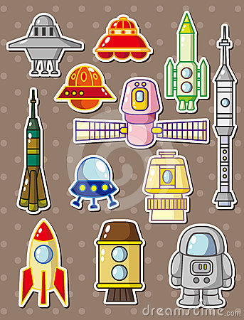 Cartoon rocket stickers