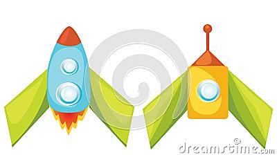 Cartoon rockets.