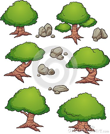 Free Cartoon Rocks And Trees Aerial View Stock Photos - 137974133