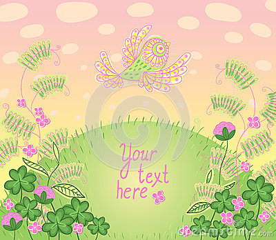 Cartoon romantic card in vector. Colorful background a place for