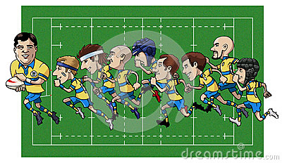 Cartoon rugby team