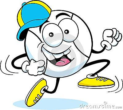 Cartoon running baseball