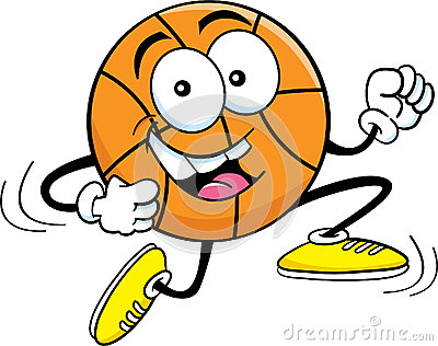 Cartoon running basketball
