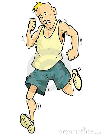 Cartoon of a running man
