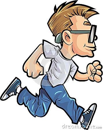 Cartoon running man with glasses