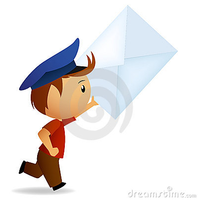 Cartoon running postman with letter in hand