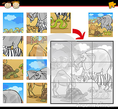 Free Cartoon Safari Animals Jigsaw Puzzle Stock Photography - 36941752