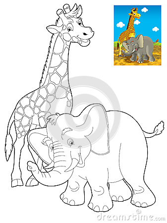 Cartoon safari - coloring page for the children