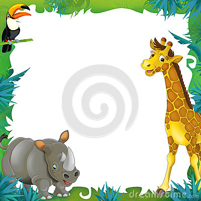 Cartoon Safari Jungle Frame Border Template