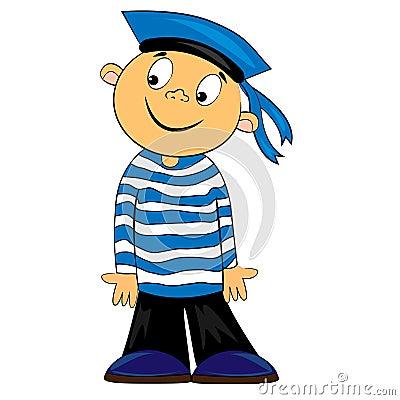 Free Cartoon Sailor Kid In Striped Shirt. Image Royalty Free Stock Image - 22591706