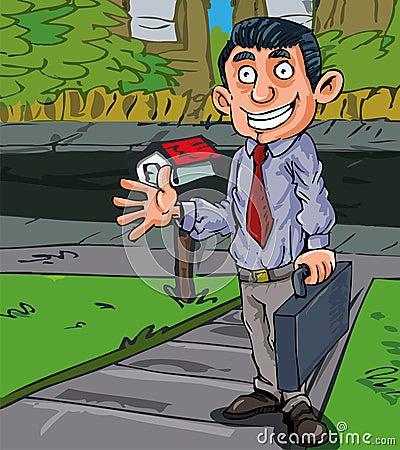 Cartoon salesman at the door