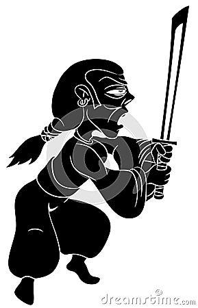 Cartoon samurai warrior.