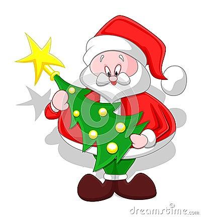 Cartoon santa with christmas tree stock photos image for Cute christmas tree drawing
