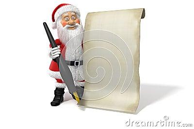 Cartoon Santa Claus Blank List Page