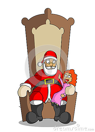 Cartoon Santa Claus with little girl at the elbow-chair