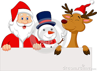 Cartoon Santa Claus, reindeer and snowman with blank sign