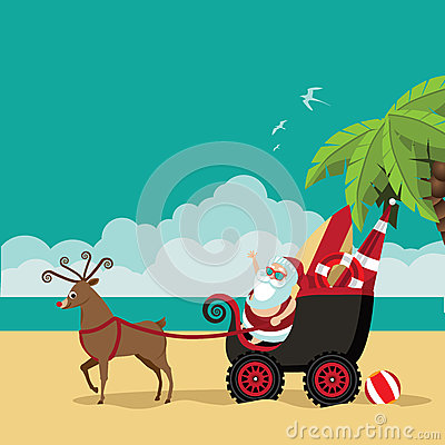 Free Cartoon Santa Claus Waves Hello From His Dune Buggy Stock Image - 63990591