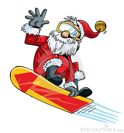 Cartoon Santa doing a jump on a snowboard