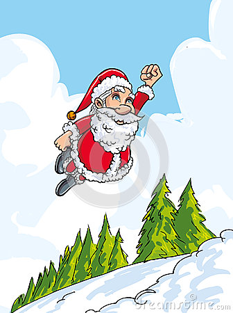 Cartoon Santa flying like super above snowy landscape