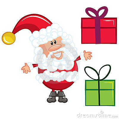 Cartoon Santa with gifts. Isolated