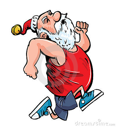 Cartoon Santa running for exercise.