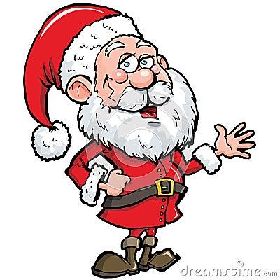 Cartoon Santa with a white beard