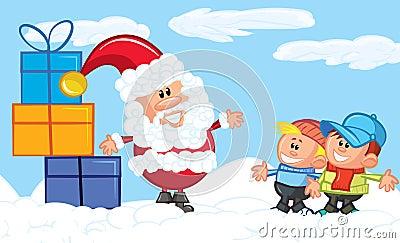 Cartoon Santa with a white beard in the snow