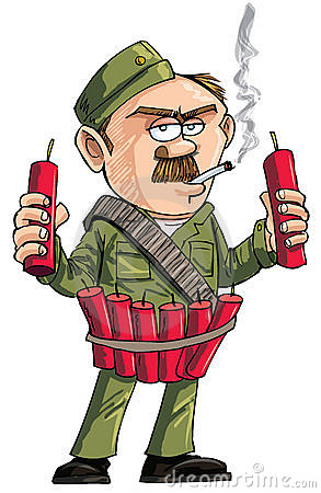 Cartoon Sapper with dynamite sticks.