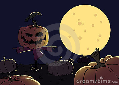 Cartoon scarecrow with a pumpkin