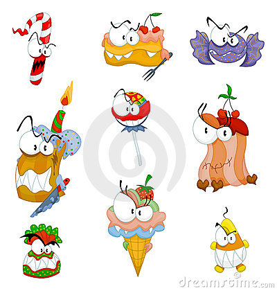 Cartoon scary sweets, cakes and ice cream