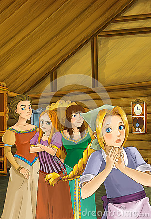 Free Cartoon Scene - Mother And Three Sisters - Talking In The Room Of An Old Traditional House Royalty Free Stock Photography - 72430387