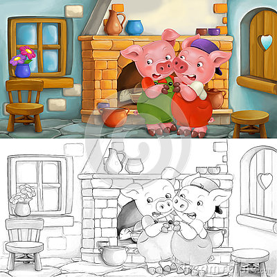 Free Cartoon Scene Of Scared Pigs Inside The Old House - With Coloring Page Stock Photography - 73044752