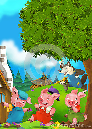 Free Cartoon Scene Of Two Running Pigs To The House Of Their Brother Royalty Free Stock Image - 69402176