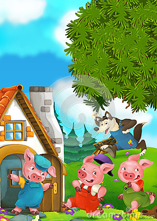 Free Cartoon Scene Of Two Running Pigs To The House Of Their Brother Stock Image - 72092761