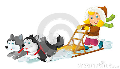 Cartoon scene - on the ski having fun Cartoon Illustration